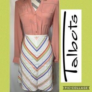 Talbots Rainbow Chevron Midi Skirt